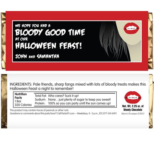 Halloween Vampire Theme Candy Bar Wrapper