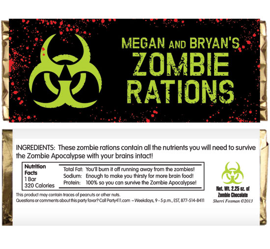 Zombie Theme Candy Bar Wrapper