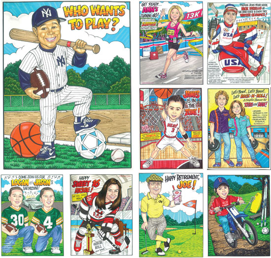 Sports Theme Custom Caricature