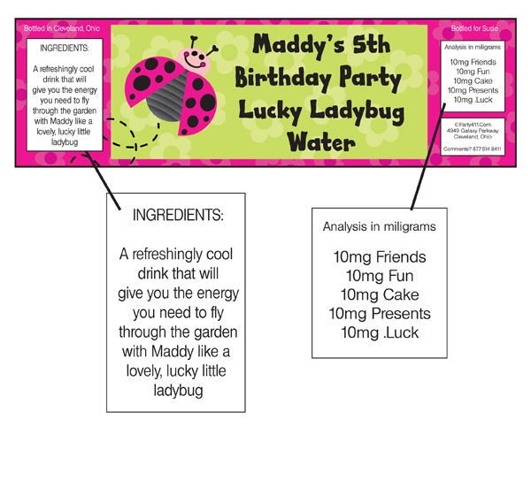 Ladybugs Theme Water Bottle Label