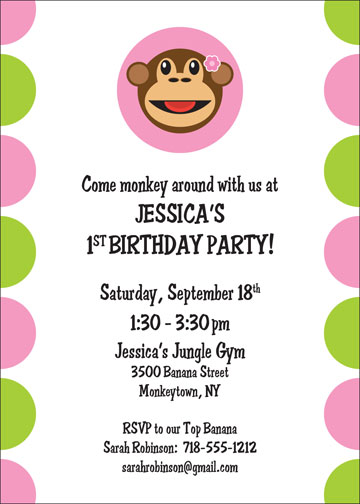 Monkey Invitation, Girl Theme