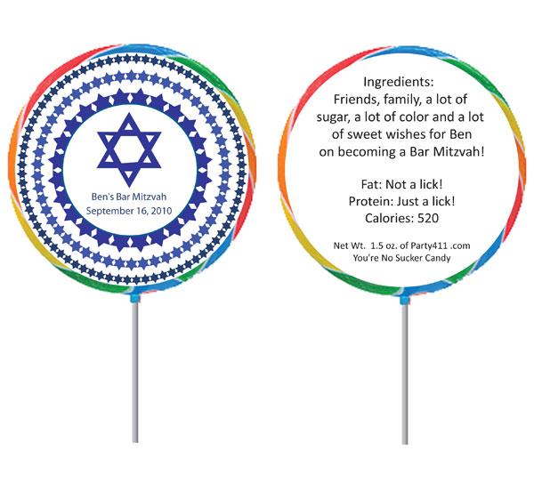 Custom Blue Star of David Bar Mitzvah Lollipop
