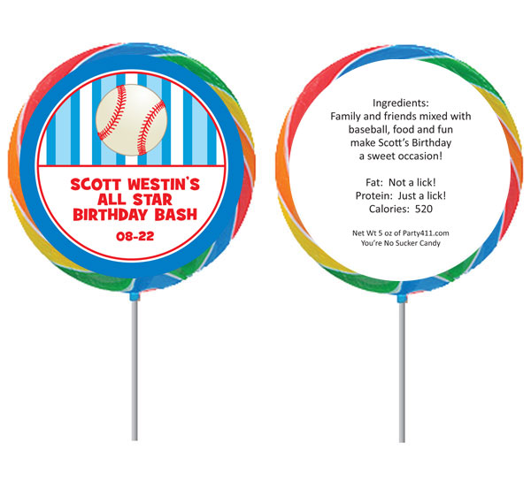 Custom Baseball Lollipop