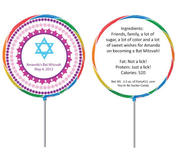 Bat Mitzvah Lollipop Favor