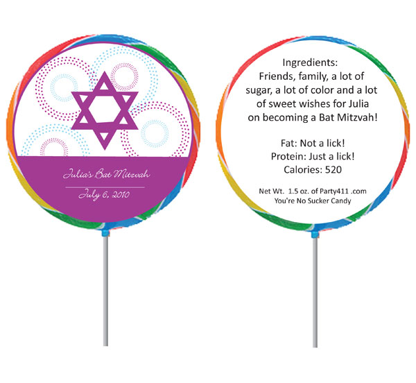 Custom Bat Mitzvah Lollipop