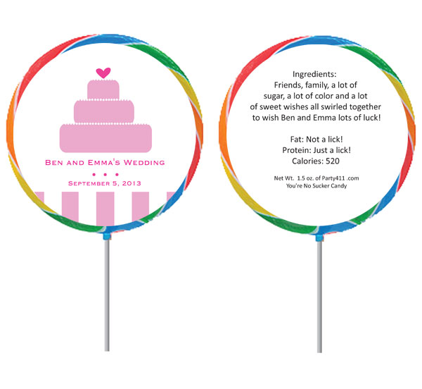 Bridal Wedding Cake Theme Custom Lollipop