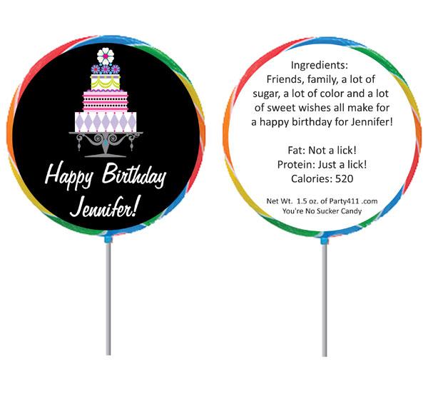 Birthday Cake Theme Lollipop