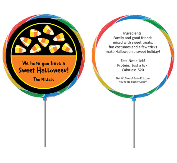 Halloween Sweet Candy Corn Theme Lollipop