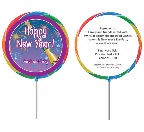 Custom New Year's Eve Party Favors - Lollipops