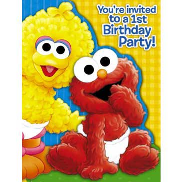 Sesame beginnings 1st birthday invitations filmwisefo Image collections