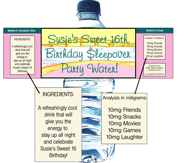 Sleepover Water Bottle Label