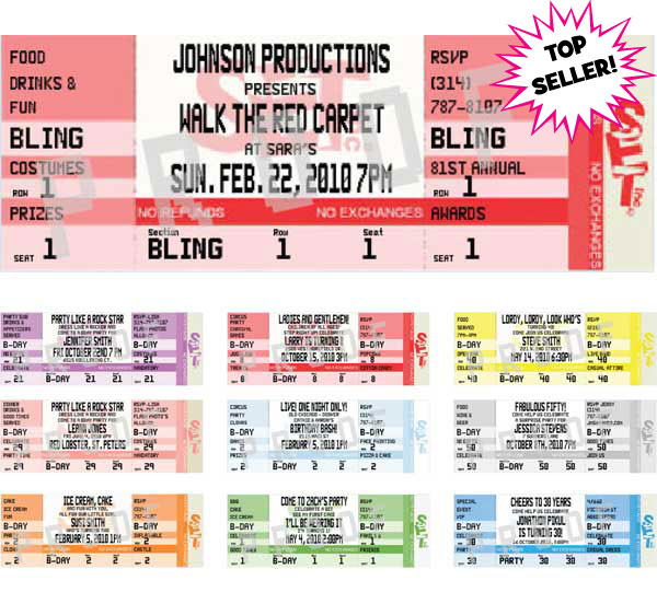 hollywood tickets and backstage passes custom