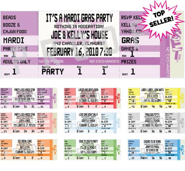 Mardi Gras Authentic Ticket Invitation