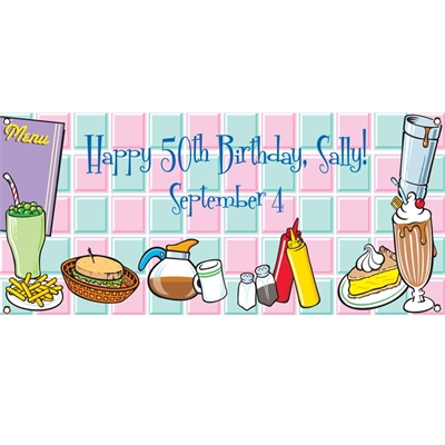 50s Diner Theme Banner
