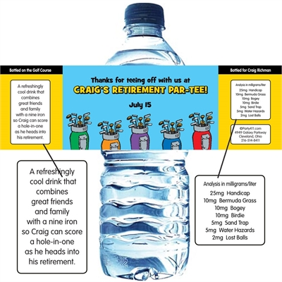 Golf Clubs Water Bottle Label