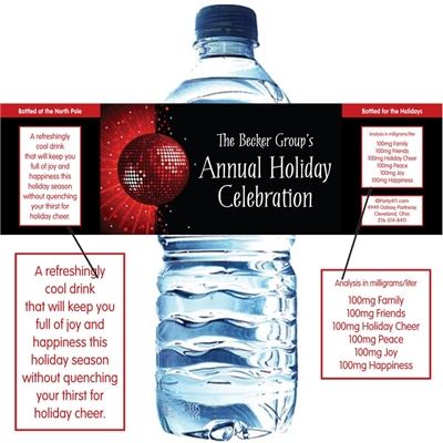 Holiday Party Water Bottle Label
