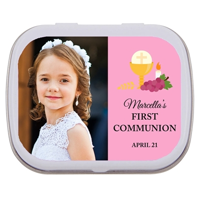 First Communion Mint Tin in Pink