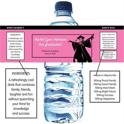 Graduation For Her Theme Water Bottle Label