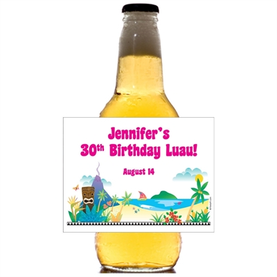 Luau Beach Theme Beer Bottle Label