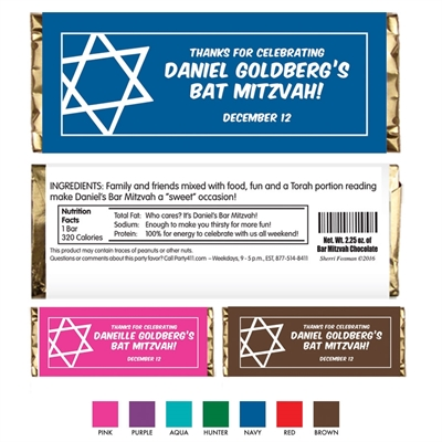 Simple Star of David Candy Bar Wrapper