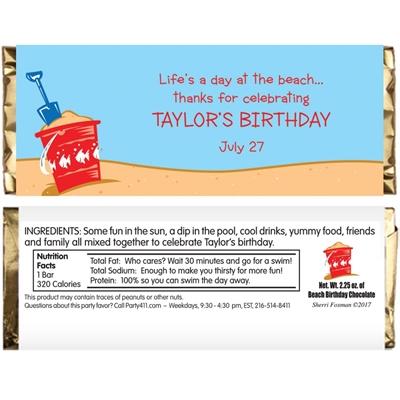 Beach Party Theme Candy Bar Wrapper