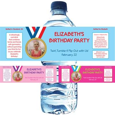 Gymnastics Gold Medal Photo Custom Water Bottle Label