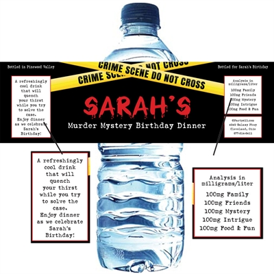 Crime Scene Theme Party Water Bottle Label