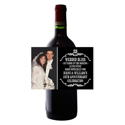 25th Anniversary Vintage Photo Wine Bottle Label