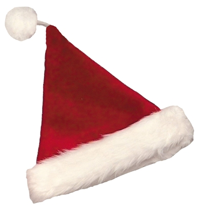 Velvet Santa Hat with Plush Trim