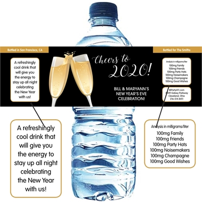 Champagne Toast Theme Water Bottle Label