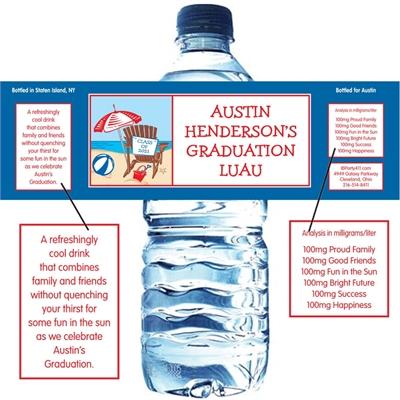 Luau Graduation Beach Water Bottle Label
