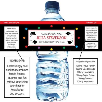 Graduation Dots Theme Water Bottle Label