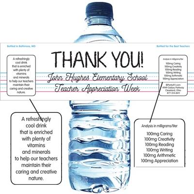 Teacher Appreciation Theme Water Bottle Label