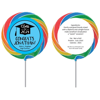 Graduation Cap Blue Theme Lollipop