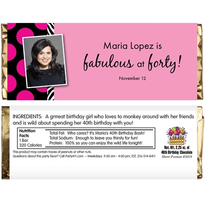 A Fabulous Party Theme Candy Bar Wrapper
