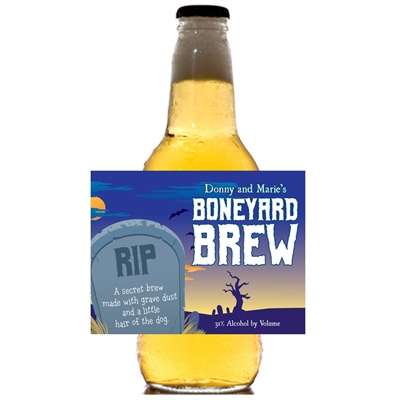Halloween Graveyard Theme Beer Bottle Label