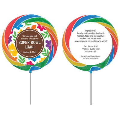 Super Bowl Luau Theme Custom Lollipop
