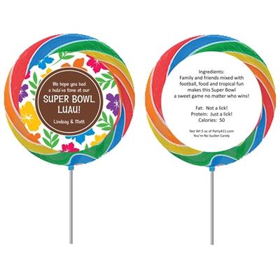 Super Bowl Luau Theme Custom Lollipop