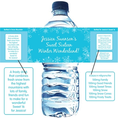 Snow Theme Water Bottle Label