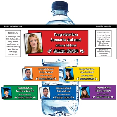 Graduation Color Choice Water Bottle Labels