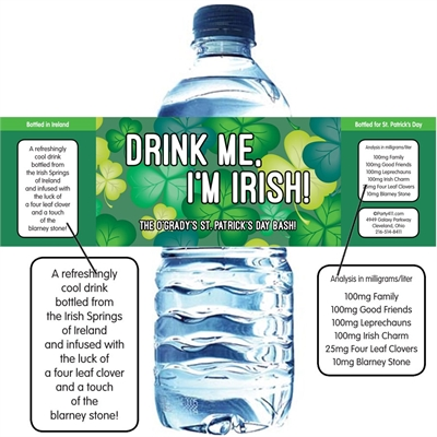 St. Patrick's Day Green Shamrocks Theme Water Bottle Labels