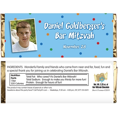 Bar Mitzvah Dots Candy Bar Wrapper