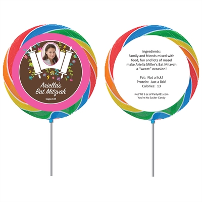 Bat Mitzvah Torah Flowers Lollipop
