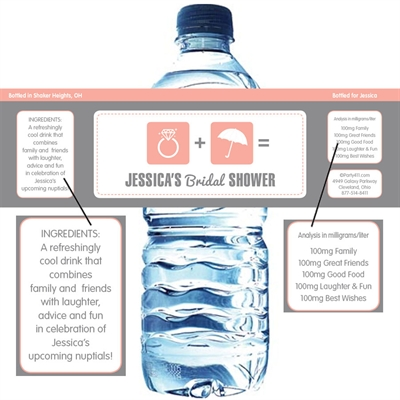 bridal icons water bottle label