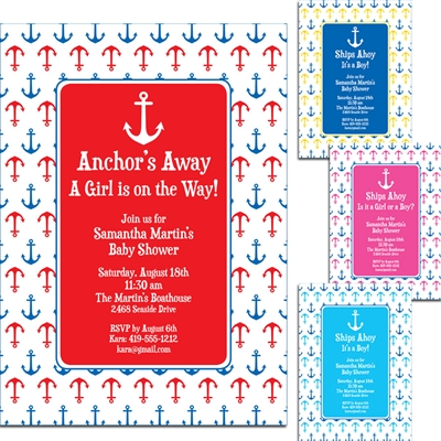 Anchor Theme Party Invitation