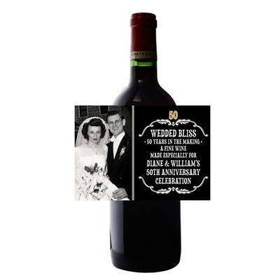 50th Anniversary Vintage Photo Wine Bottle Label