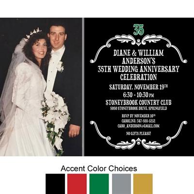 Vintage Anniversary Photo Invitation