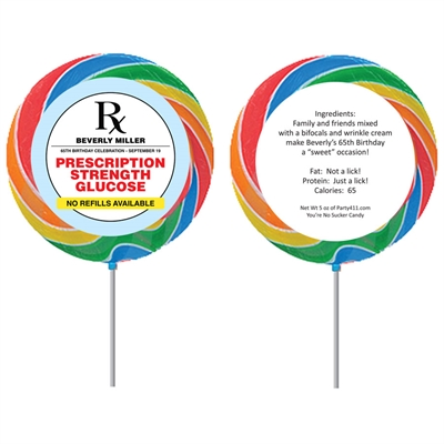 Prescription to Party Theme Lollipop