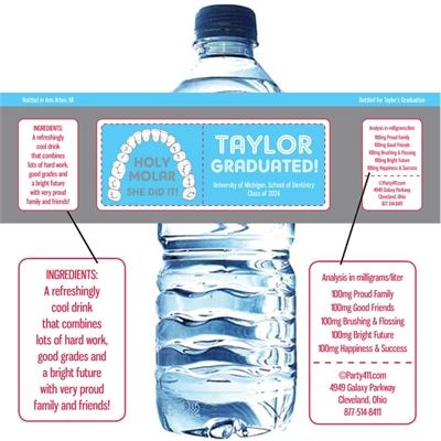 Graduation Dental School Water Bottle Label