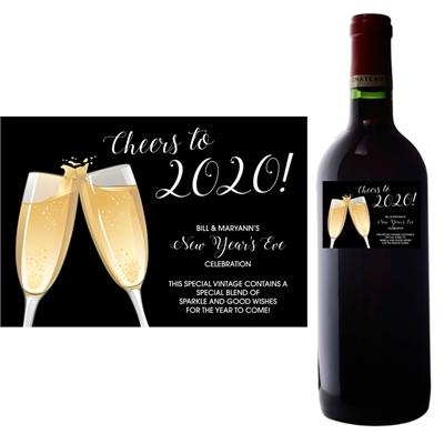 Champagne Toast Theme Wine Bottle Label